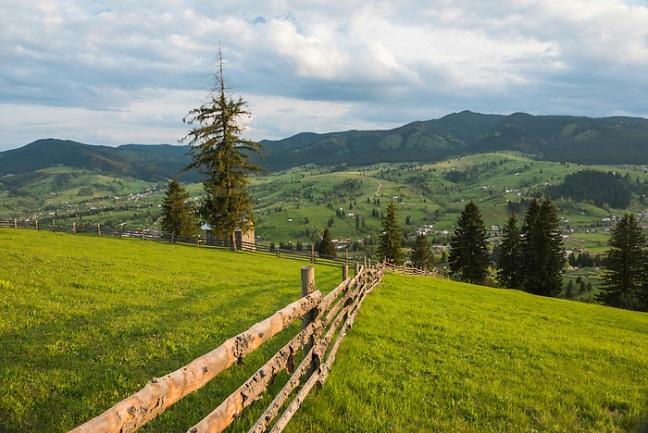 Bukovina Region (Bucovina) landscape at Paltinu in Romania